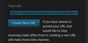 New Steam Trade URL creation page on mobile