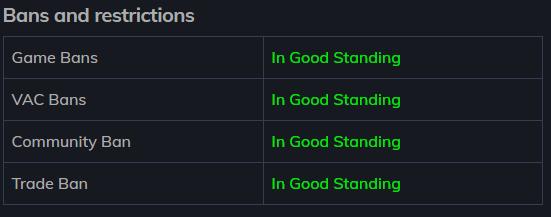 Результаты проверки аккаунта Steam на баны и ограничения